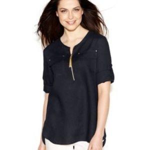 Ellen Tracy Roll-Tab Sleeve Zip Front Linen Tunic